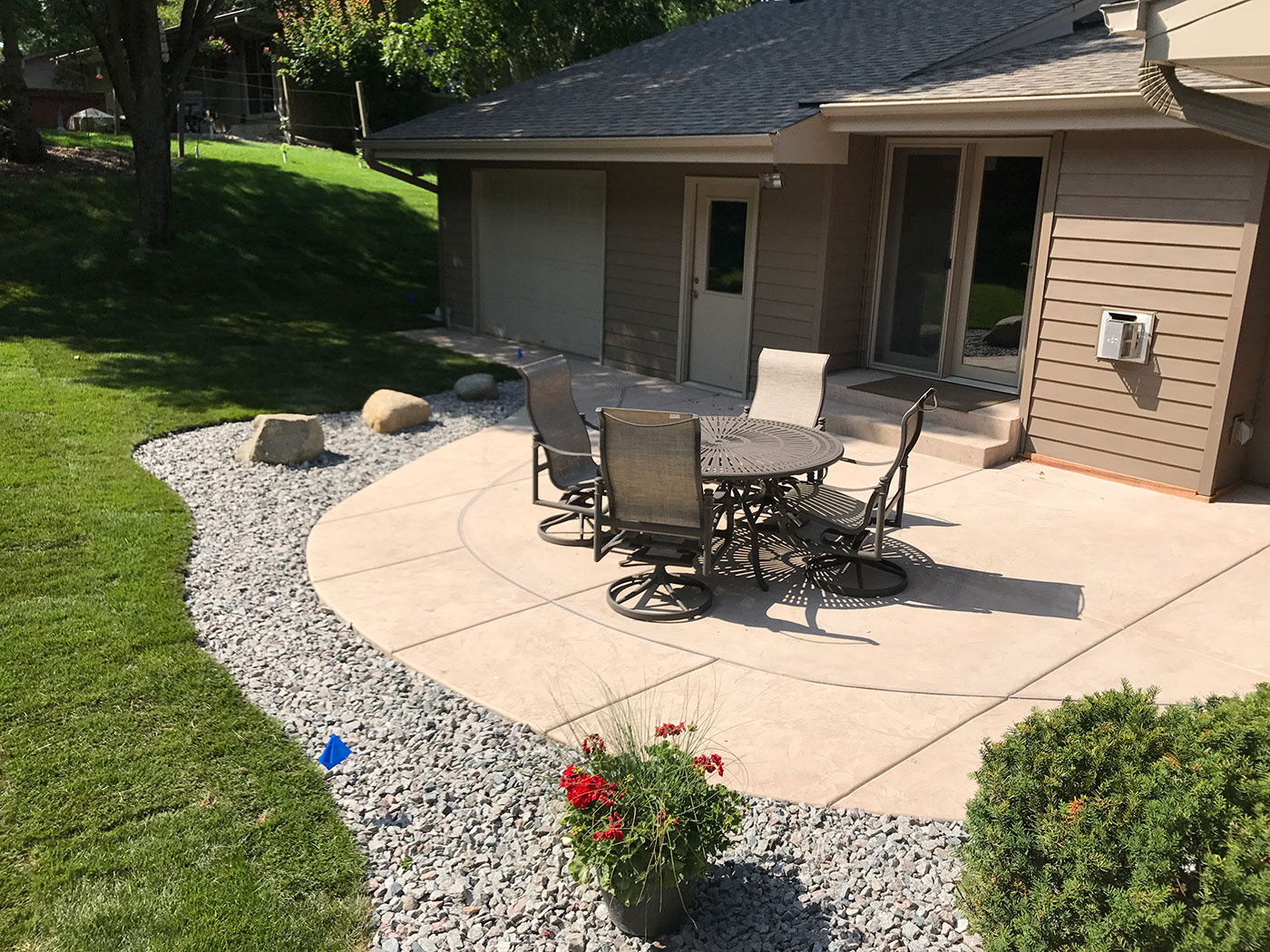 Create any shape that you would like in your backyard with stamped concrete get the look and texture of a stone patio with a stamped concrete patio