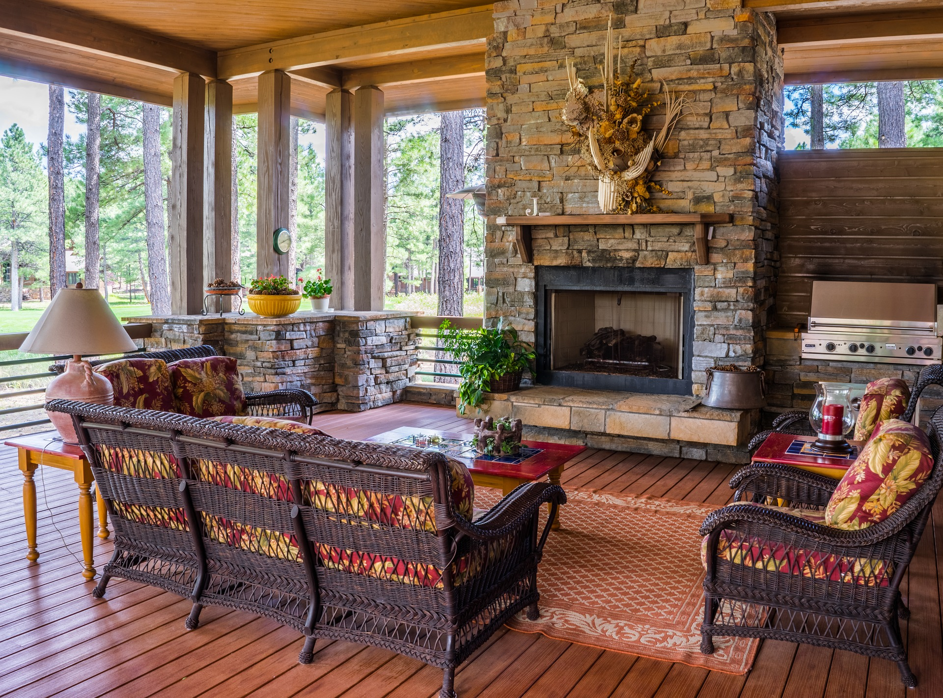 Take A Look At The Added Stone Work To This Porch Space By Adding In Stone  Wrap Arounds And Stone Cooking Space On Each Side Of The Stone Fireplace.